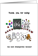 Cats in school - Thank you for kindergarten teacher from student card