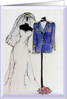 Army Officer Wedding invitation, Dress Uniform, Wedding Gown card