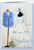 Army Officer Wedding, Blue Uniform, White Wedding Dress card