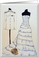 Navy Wedding Invitation, Wedding Dress, Navy Uniform card