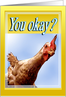 Are you okay? Funny Rooster (Christian) card