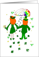 Congratulations Marriage St. Patrick's Day Leprechauns Rainbow Shamrock card