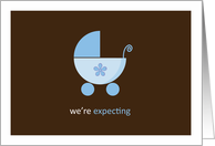 We're Expecting a Boy, Blue Stroller card
