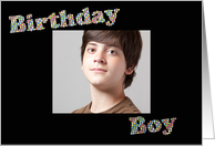 Birthday Boy Colorful Circles Photo Card