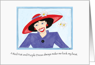 A Red Hat and Purple Dress Invitation Card