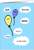 Birthday - General - Smiling Balloons - You're Awesome! card