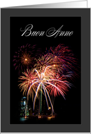Happy New Year in Italian Buon anno - Fireworks card