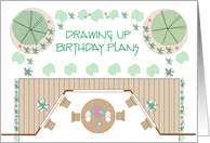 Birthday Landscape Architect, With Plans and Birthday Cake card