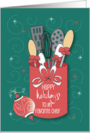 Christmas for Chef, Utensil Jar with Cooking Utensils card