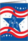 It's Flag Day for Business, Blue Star, Red Wavy Stripes card