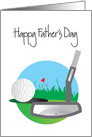 Father's Day for Golfer, Putter and Golf Ball on Green card