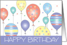 Happy Birthday with Colorful Patterned Balloon Cluster card