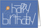 Birthday with Fun Lettering, Orange Balloon and Polka Dots card