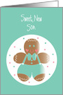 First Christmas for Son, with Gingerbread Cookie card