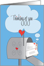 Thinking of You, Mailbox Stuffed with Letters and Hearts card