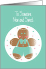 First Christmas for New, Sweet Boy with GIngerbread Cookie card