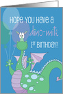Birthday for One Year Old Boy, Cupcake, Candle and Stars card