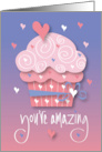 Birthday with Pink Cupcake, Candle and Star Confetti card