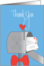 Thank you to Female Mail Carrier, Mailbox with Bow and Hearts card