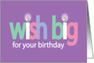 Easter Birthday, Wish Big with Colorful Striped Easter Eggs card