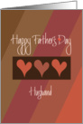 Father's Day for Husband, Diagonal Brown & Orange with Hearts card