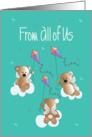 Father's Day from All of Us, with Trio of Angel Bears & Kites card
