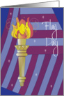 Flag Day, with American Flag and Statue of Liberty Torch card