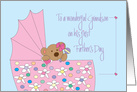 1st Father's Day for Grandson, Bear with Bow in Pink Bassinette card
