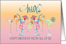 Birthday From All of Us, Cheers with Tropical Celebration card