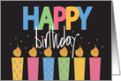Hand Lettered Happy Birthday with Bright Patterned Candles card