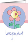 Mother's Day for Aunt, Love You with Single Flower & Heart card