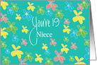 19th Birthday for Niece, Bright Flowers on Teal with Hand Lettering card