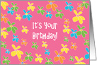 Birthday for Girl with Bright and Happy Flowers on PInk card