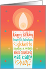 Hand Lettered Birthday with Huge Candle Wishes & Confetti card