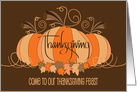 Invitation to Thanksgiving Dinner, Plump Pumpkin with Welcome card