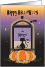 Halloween for Niece, Away at College, Window with Cat, Bat & Stars card