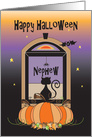 Halloween for Nephew, Away at College, Window Cat, Bat & Stars card