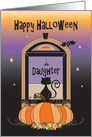 Halloween for Daughter, Away at College, Window Cat, Bat & Stars card