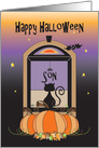 Halloween for Son, Away at College, Window Cat, Bat & Spider card