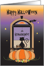 Halloween for Granddaughter, Away at College, Window Cat & Bat card