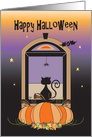 Halloween for Someone Away at College, Window Cat, Spider & Bat card