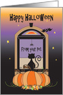 Halloween from Pet, Window Scene with Black Cat, Spider & Bat card