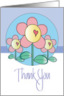Thank you for Gift of Flowers, Trio of Flowers with Hearts card