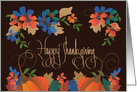 Thanksgiving Pumpkin with Fall Leaves and Elegant Calligraphy card