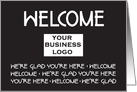 Welcome Card with Horizontal Custom Logo Space, in Black card