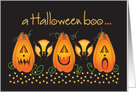 A Halloween boo with trio of Jack O'Lanterns and bats card