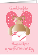 First Valentine's Day for Granddaughter with teddy bear and hearts card
