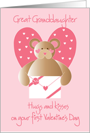First Valentine's Day Great Granddaughter with bear card