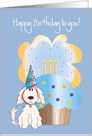 Happy Birthday From Pet Dog with Party Hat and Cupcake card