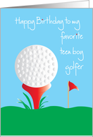 Birthday for Teen Boy Golfer with Golf Ball and Red Tee card